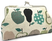 clutch purse - grin and pear it  - 8 inch metal frame clutch purse - large purse- fruit -pear- apple - clutch- kisslock