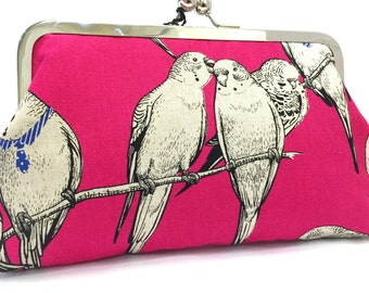 clutch purse - budgie smuggler- 8 inch metal frame clutch purse - large purse-budgie - bird -  hot pink -   natural linen - clutch- kisslock