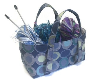 Small Project Knitting Bag  Blue Green Upholstery Fabric Sock Knitters Bag Knitting Storage Tote  Lining Inside Pocket Circle Motif