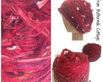 Red Knit Slouchy Hat Kit Yarn Pattern Multicolored Yarn Hand Tied Yarn Art Yarn Boutique Yarn Red Knit Cap Knitting Kit FUSION Yarn