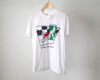 vintage 80s 7-UP soda pop SPOT mascot thin soft white t-shirt