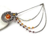 Wire wrapped brooch pin , orange yellow pin , sterling silver brooch, gemstone jewelry
