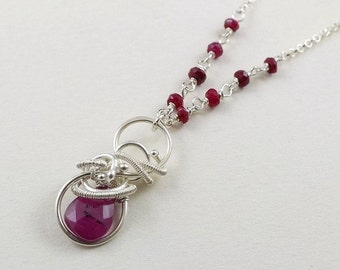 Ruby necklace, wire wrapped jewelry, gemstone small pendant, sterling silver jewelry