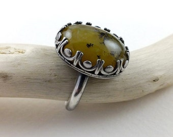 Yellow opal retro ring, metalwork ring, sterling silver jewelry, gemstone ring