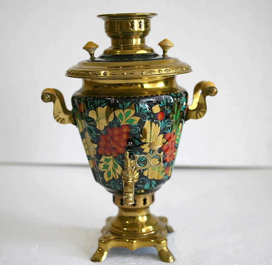 Soviet Russian Samovar Hand Painted Electric Samovar Metal Tea
