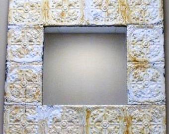 Vintage Ceiling Tile Mirror / Large 4' X 4' / Cottage Decor