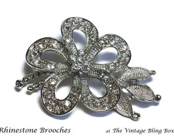 Silver Rhinestone Flower Brooch with Pave Set Crystals in Textured Leaves & Stem Motif - Vintage 70's Floral Costume Jewelry