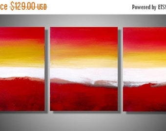 """LARGE WALL ART triptych 3 panel wall contemporary art """"Colour Slats"""" 48 x 20 """" canvas wall original painting abstract canvas pop wall kunst"""