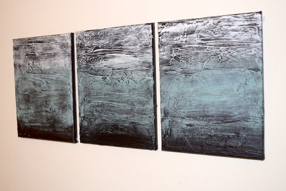 Affordable Wall Art 3 Panel Wall Contemporary Turquoise Triptych