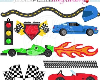 SALE Lets Go FAST Cute Digital Clipart - Commercial Use OK - Racing Clipart, Race Graphics, Checkered Flag, Fomula One, Stock Car
