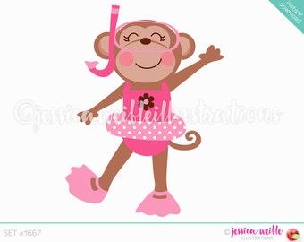 Pink Girl Snorkel Fun Monkey Cute Digital Clipart, Cute Monkey Clip art, Summer Swimming Graphics, Girl Monkey Swimmer Illustration, #1667