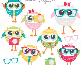 We're So Hip Owls Cute Digital Clipart - Commercial Use OK - Hipster Clipart, Hipster Graphics, Hipster Owls