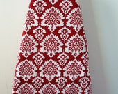 Ironing Board Cover - blood red and white damask