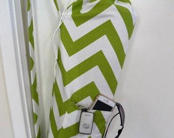 Yoga Bag - Meditation hold all - green and white chevron zig zag