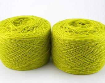 Green, bright light green color lace weight merino yarn for lace knitting or Haapsalu shawl knitting, measure 2/28, 100 grams (1526yard)