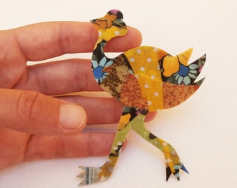 fabric brooch ostrich,patchwork animal pin-free shipping to Greece