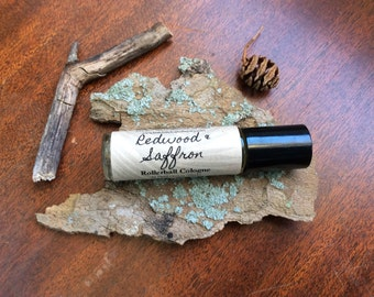 Redwood and Saffron Cologne For Men, rollerball cologne, mens cologne, mens fragrance, for men, for him, roll on cologne, vegan cologne