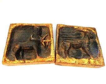 Bonachera & Andujar Spain Wood Vintage Zodiac Wall Plaques Black Phillip Goat Sagittarius Capricorn FREE Shipping