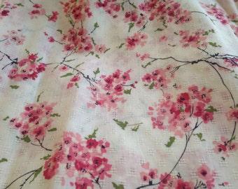 Vintage Cotton Fabric Branches Ponk Blossoms Flowers Floral