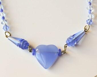 Czech Blue Glass Necklace Heart Necklace Czech Bohemian Glass