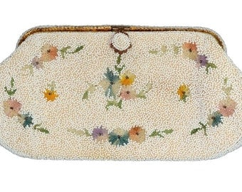 from France Vintage White with Pastels Beaded Evening Clutch Purse