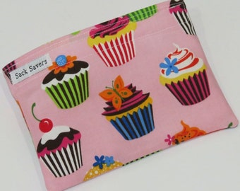 Reusable Sandwich And Or Snack Bag Pink Cupcake Eco Friendly Reusable Bag