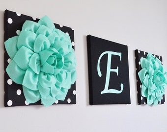Hanging Nursery Letter Flower Set, Bedroom Initials, Baby Girl Nursery Letters, Mint, Black, White, Nursery Decor, Nursery Wall Letters