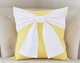 Decorative Bow Pillow, Yellow Home Decor, Apartment Pillow, Baby Shower Gifts, Yellow Nursery Wall Art, Beach House, Retro Home Decor