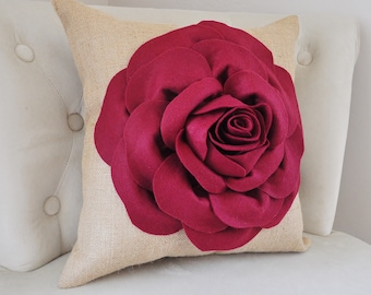 Burlap Home Decor-Rustic Home Decor,Ruby Red Rose, 3D Decorative Pillow, Housewarming Gift, Gift for Wife, Anniversary, Burlap Wedding