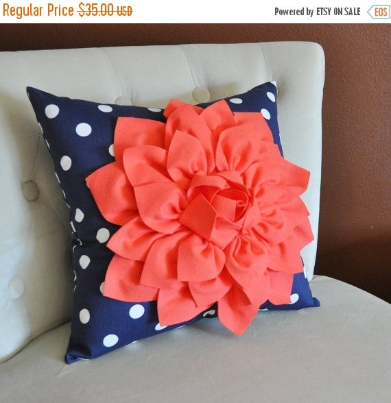 Marion S Coral And Gold Polka Dot Nursery: SALE Coral Dahlia On Navy And White Polka Dot Pillow -Baby