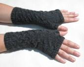 READY TO SHIP Fingerless Mittens. Fingerless Gloves. Wrist Warmer. Alpaca Gloves. Hand-knitted. Hand Warmer. Dark Grey