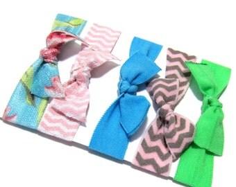 Blue Set of 5 Hair Ties, Ponytail Holders, Elastic Hair Ties, Elastic Bracelet, Girl Baby Woman Ponytail Holder, Ponytail Elastic, Hair Band