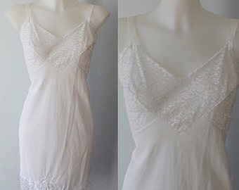 Vintage White Slip, White Slip, Full White Slip, Movie Star, Vintage Slip, 1970s White Slip, Slip