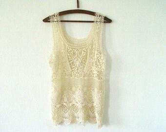 Cream knit tank top . Cream openwork  blouse.Bohemian blouse.Gypsy tunic, Cotton folk tunic