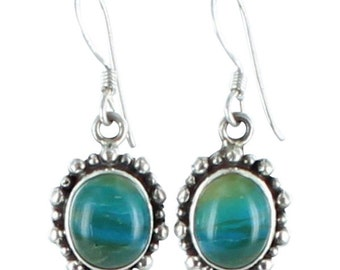 Peruvian Opal Sterling Earrings Ovals Granulated