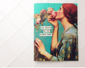 Handmade Card - Art Nouveau, OOAK, collage, aqua, teal - birthday card, congratulations card, friendship