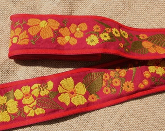 Vintage Red Yellow and Orange Floral Jacquard Ribbon Trim Woven Cotton