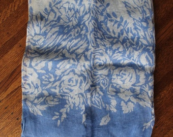 Pure Linen Scarf Blue and White Floral Scarf Large Fringed Scarf Shawl Wrap New Old Stock