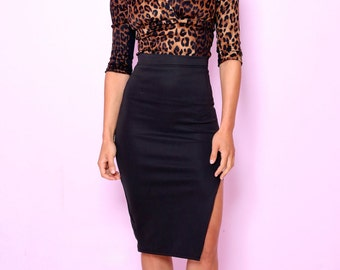 Kitty Side Split Pencil Skirt Black