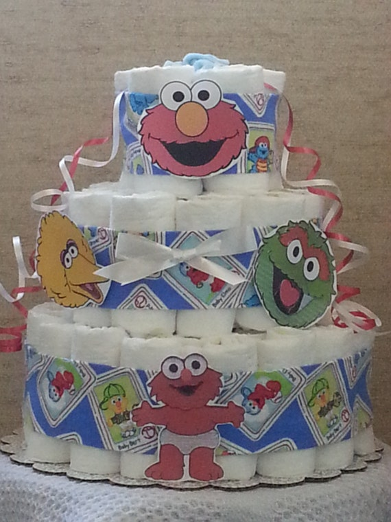 Diaper cake sesame street babies baby elmo boy shower gift centerpiece