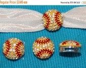 ON SALE 10% off Set of 2 Rhinestone Sports slide charm Charms yellow Softball  8mm bracelet Hair Ties