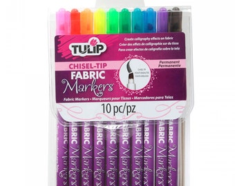 Tulip Fabric Markers - Color Me - Chisel-Tip 10 Colors