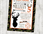 Hunting Birthday Invitation - Deer and Camo - Digital File Available