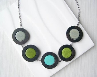Geometric Necklace - 5th Anniversary Gift, Wood, Statement Jewelry, Modern, Grey, Turquoise, Olive Green, Ebony, Contemporary