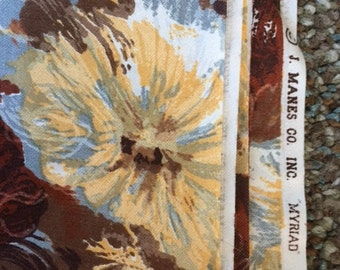 "Vintage 1940's Cotton Fabric 1 Yd L 36"" W J Manes Brown Floral MYRIAD"