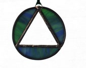 RECOVERY SUNCATCHER- Blue Green Triangle in Circle Sobriety Suncatcher, Gift for Sponsor, Recovery Gift, Milestone Gift, Sobriety Gift