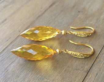 Citrine Pave Gold Earrings. One of a kind. 26 carats.  Yellow Gemstones