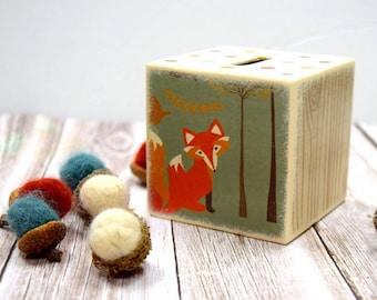 Autumn Fox Piggy Bank, Woodland Kids Bank, Money Box, Cash Box, Adorable Kids Room Decor, Modern Baby, Wood Bank, Unique,  Tirelire