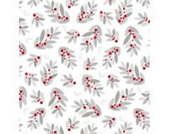 Modern Holly on White - Alpine from Wilmington Prints - Full or Half Yard Holly Toss White