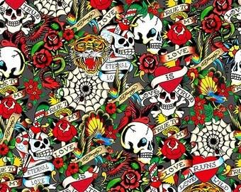 Ed Hardy Skulls Roses - Love is True from Quilting Treasures - Full or Half Yard Dark Gray Packed Skulls and Hearts - Tattoo Style Skulls